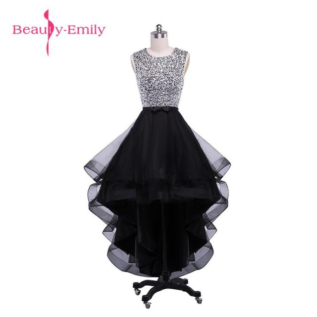 Beauty-Emily Sexy Black Asymmetrical Bridesmaid Dresses 2017 Prom Dresses  O-Neck Sleeveless Backless d44a2e3f9136