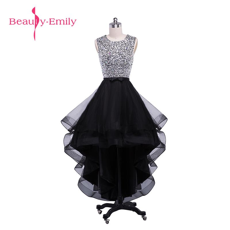 Beauty-Emily Sexy Black Asymmetrical   Bridesmaid     Dresses   2017 Prom   Dresses   O-Neck Sleeveless Backless Prom   Dresses