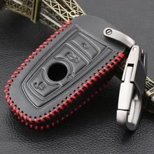 VCiiC brelok do kluczy pokrywa prawdziwej skóry skórzane etui na klucze dla BMW 5 GT F07 F10 F11 520 525 520I 530D E34 E60 E70 2 3 przycisk klucz zdalny tanie tanio Górna Warstwa Skóry Genuine Leather + PU+ Zinc Alloy Keychain For BMW F30 F20 X1 X3 X5 E30 E34 E90 E60 E36 E39 E46 Black Leather and Red Line