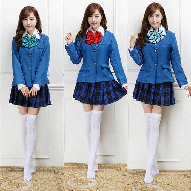 e6198dacc44fd Anime Love Live Minami kotori japonés Uniformes para el colegio azul  Abrigos y Plaid Faldas Cosplay