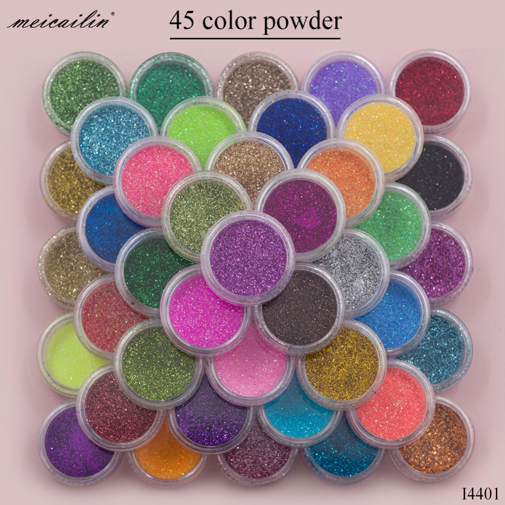 Meicailin 45 pçs/set Açúcar Acrílico Prego Pó Glitter Holo Glitter Nailart Poeira Sereia Belas Pós Pigmento Chrome Brilhante