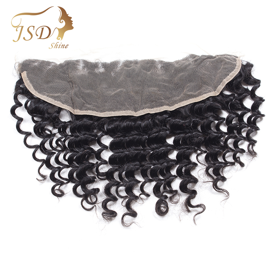 JSDShine Hair Brazilian Deep Wave Lace Frontal 13X4 Ear To Ear Remy Hair 100% Human Hair Lace Closure Natural Color 8-20''