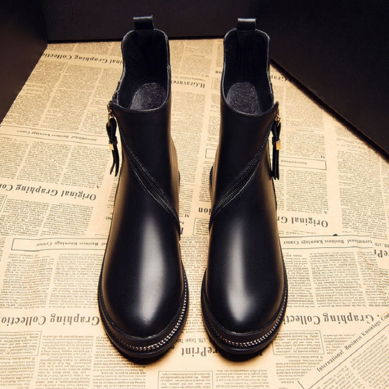 2017 autumn new leather Martin boots motorcycle boots women fashion leather boots 2017 new autumn