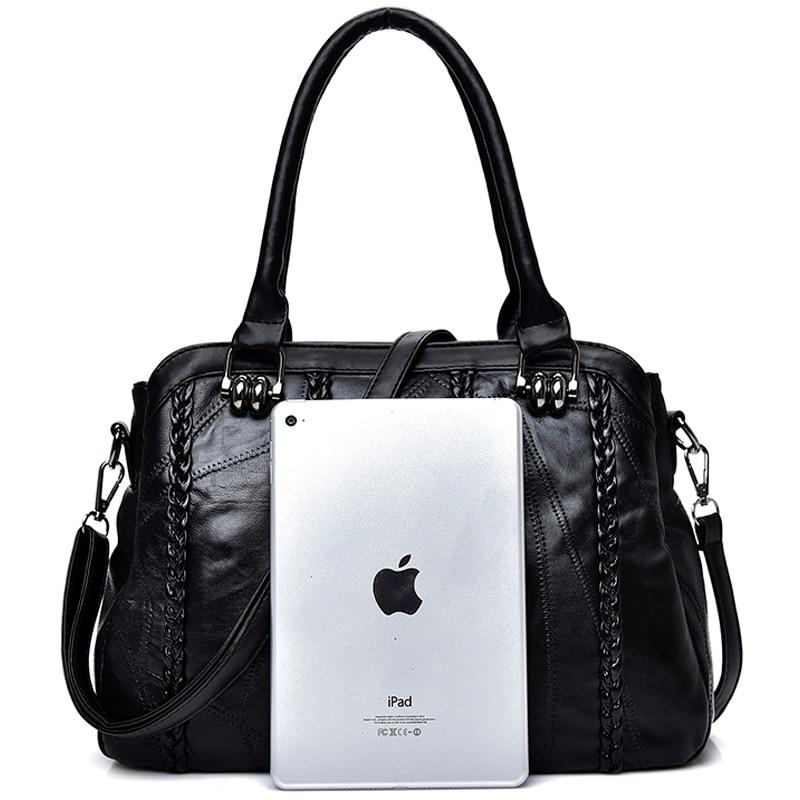 Casual Genuine Leather Sheepskin Handbags Women Shoulder Tote Bag