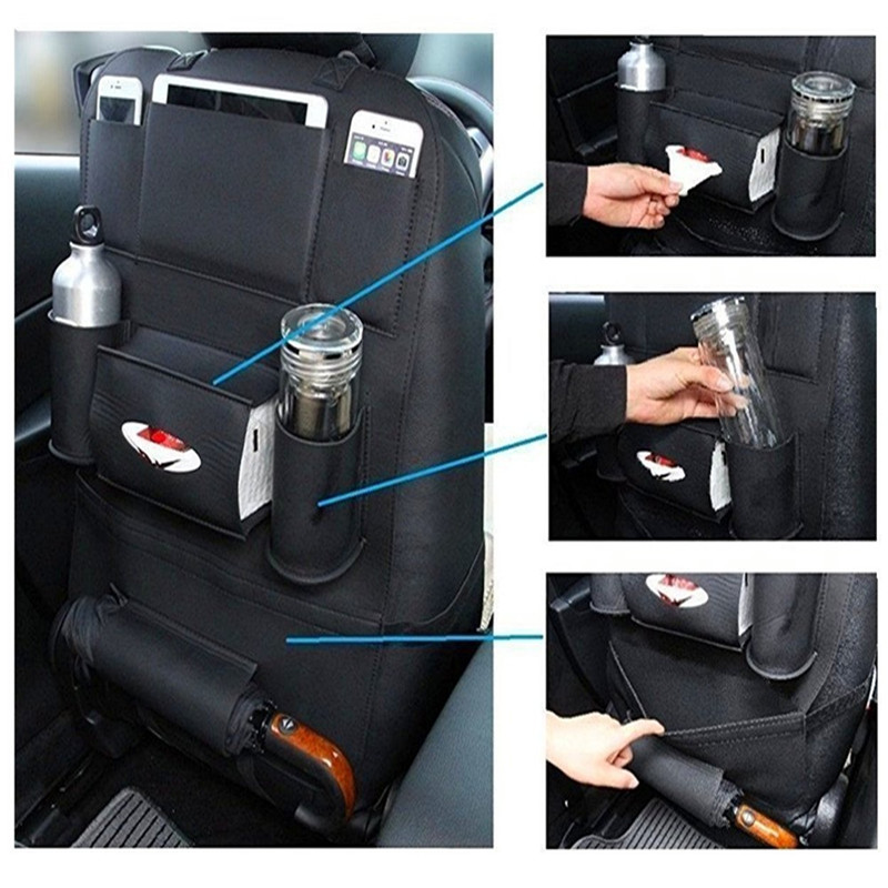 2PCS Pair PU Leather Car Seat Back Storage Hanging Bags Protector IPad Mini Holder Universal Use