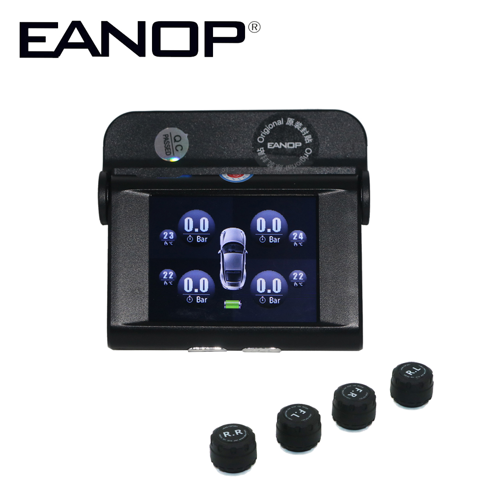 EANOP Solar TPMS TFT SCREEN With 4 Sensors PSI BAR Tire Pressure Monitor Real time Temperature