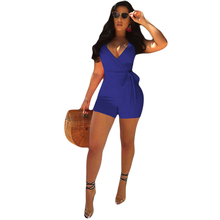 summer new women's jumpsuit sexy deep V-neck jumpsuit solid color sleeveless jumpsuit цена и фото