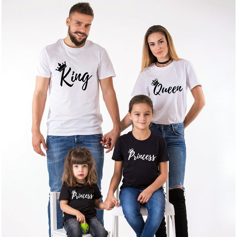 Summer New Arrival Family Matching Clothes Black Casual T Shirt Print King Queen Matching Outfits T Shirt Women Tshirt Cotton