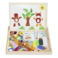 Multifunctional Educational Brinquedos Animal Wooden Magnetic Puzzle Toys for Children Kids Jigsaw Baby's Drawing Easel Board