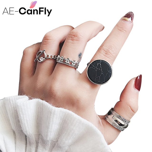 AE-CANFLY Retro 4pcs/set silver gold ring set for women fashion Knuckle Rings Gi