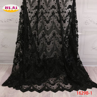 Handmade Pearls Lace Fabric, Newest High Quality African Laces, 3D Applique Lace Fabric Black MR1629B