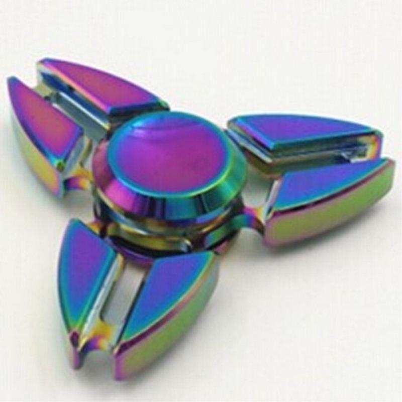 Alloy EDC Fidget Tri Spinner Rainbow Finger Toy Focus ADHD Autism Hand Kids Toy New