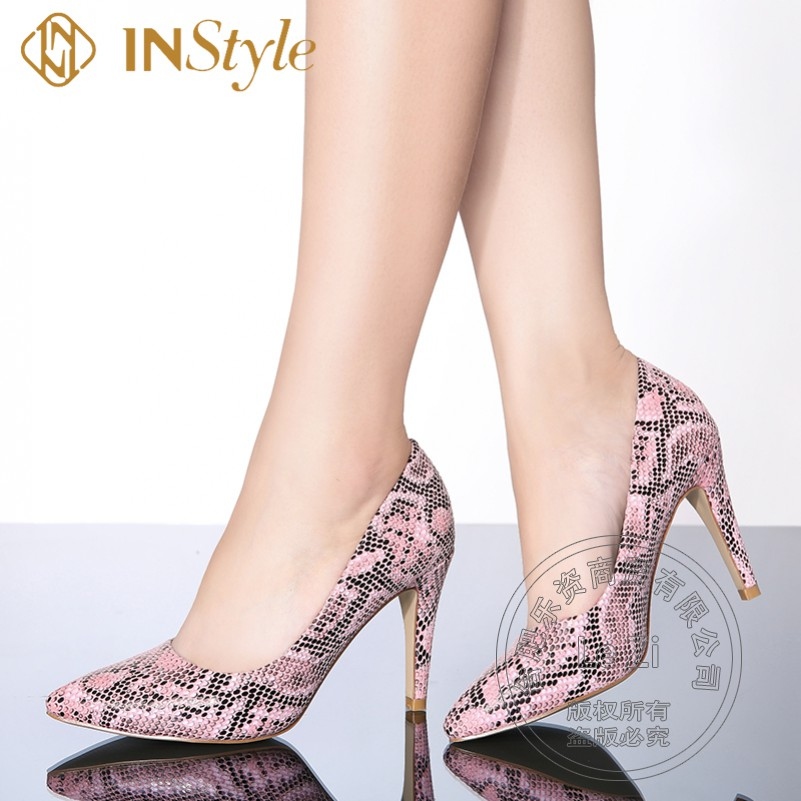 Printing Leather Shallow Mouth Pumps Snakeskin Cover Womens High Heels Stilletos Single Shoes For font b
