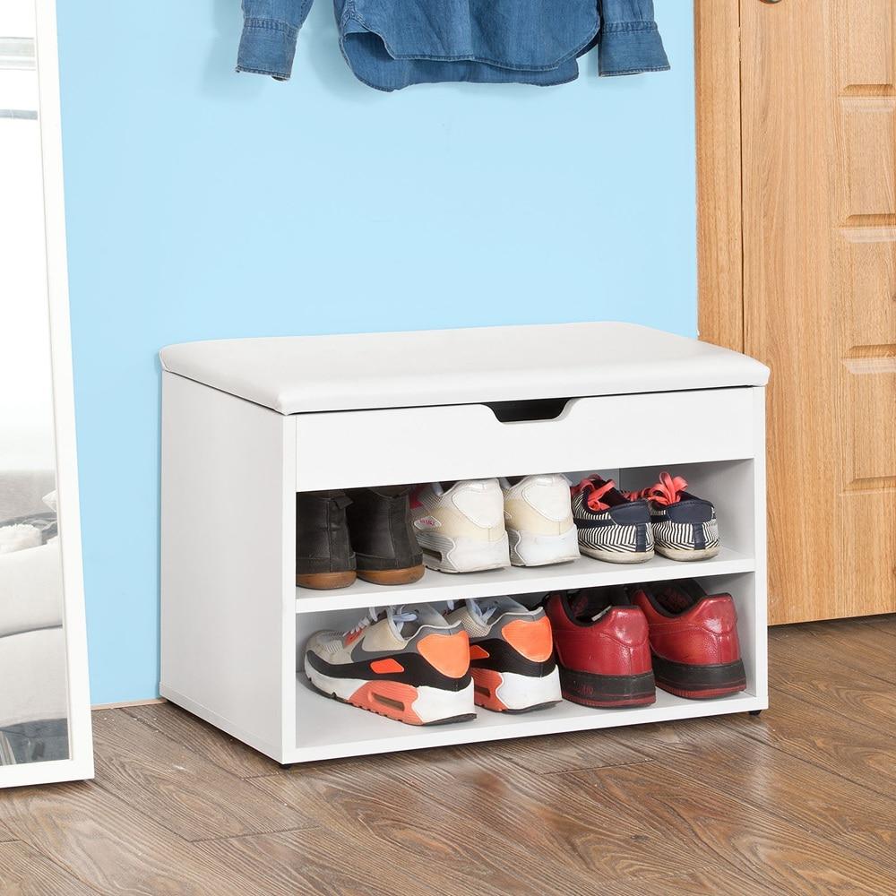 SoBuy FSR25-W Wooden Shoe Cabinet 2 Tiers Shoe Rack Shoe Storage Bench With Folding Padded Seat