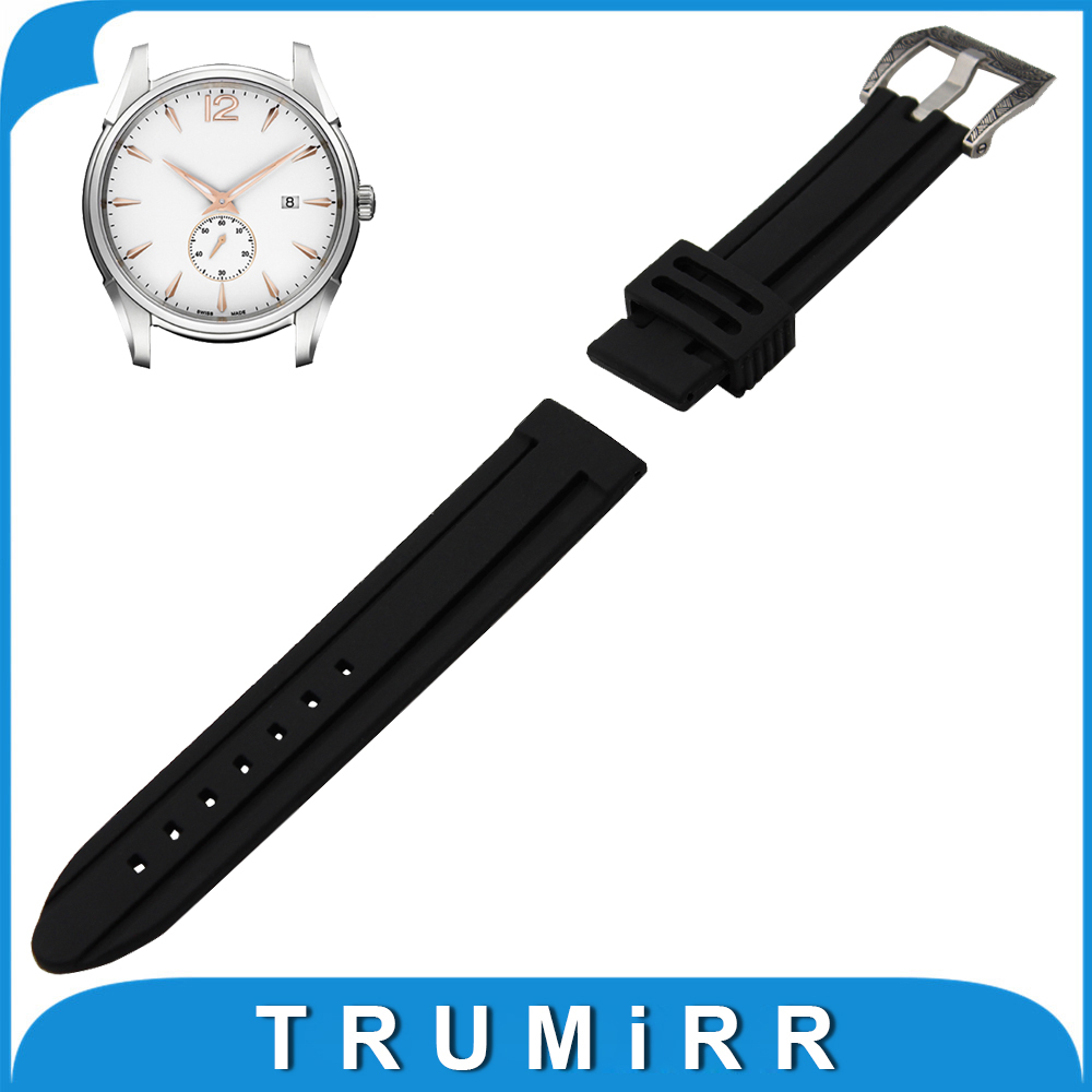 21mm 22mm 23mm 24mm Silicone Rubber Watch Band for Hamilton Stainless Steel Carved Pre-v Buckle Strap Wrist Belt Bracelet Black 23mm 24mm silicone rubber watch band for tissot 1853 t035 t087 men stainless steel carved pattern buckle strap wrist bracelet
