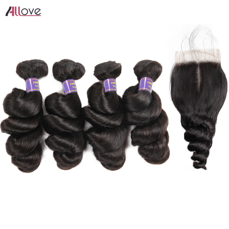 Allove Loose Wave 4 Bundles Brazilian Hair Weave Bundles With Closure Free Part Human Hair Weave With Lace Closure Remy Hair