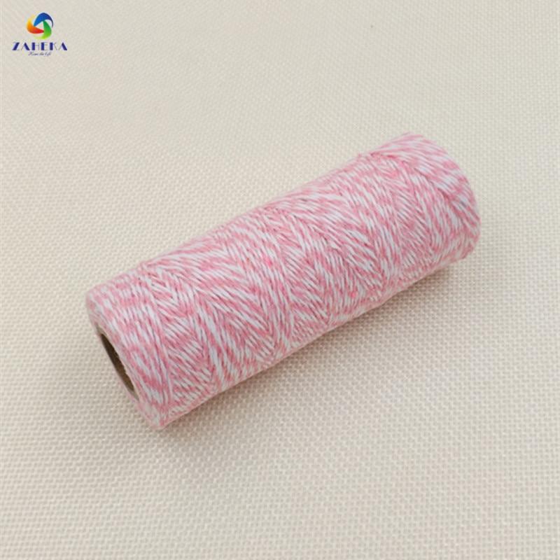 EIEYO 100 meter Dubbelfärg Bomull Baker Twine Rope för DIY Handgjord Rope Tillbehör Twisted Cord för Packing Decoratives