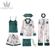 ผ้าไหมซาติน Pijama 7 ชิ้นชุดนอนชุดลายพิมพ์ชุดนอนผู้หญิงแขนยาวชุดนอนฤดูใบไม้ผลิฤดูร้อนฤดูใบไม้ร่วง Homewear