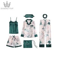Womens Silk Satin Pijama 7Pieces Pajamas Sets Striped Print Pyjamas Women Long Sleeve Sleepwear Spring Summer Autumn Homewear