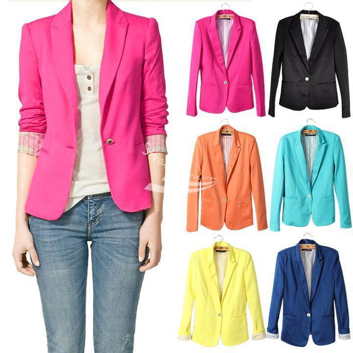 Free shipping Womens Tunic sleeve Blazer Jacket candy color suit one button Jacket Coat  ...