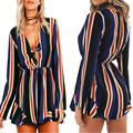 Sexy Summer Striped Print Women Short Jumpsuit Romper Deep V-neck Bow Long Sleeve Drawstring Overalls Playsuits