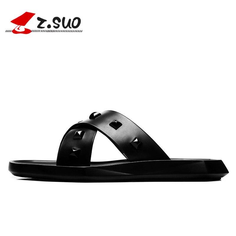 Lazer Moda Dos Homens Rebite 19608 De Couro Suo Calçados Chinelos Retro Sandálias Masculinos Flip Sapatos Verão Z Plana Praia Da Black Flops Slides xOX0wPY1xq