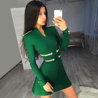 DressBird Women Autumn Winter Long Sleeve Bodycon Dress Vestidos Elegant One Neck Mini Green Black Party Winter Dresses Vestidos