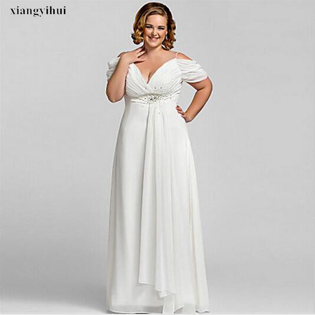 US $137.2 |Plus Size Bridal Dress Exquisite Beaded Chiffon Short Sleeve  Floor Length Empire Wedding Gowns Big Bride Competitive Price-in Wedding ...