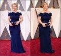 88-й Оскар Знаменитости Платья 2016 С Плеча Royal Blue Оболочка Спандекс Длинные Red Carpet Платья На Заказ ZHP1015