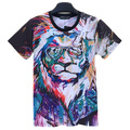Newest 3d Print Lion King Tie Dye T Shirt for Men Women Cool Colorful Animal Series T Shirt Short Sleeve Hip Hop Streetwear Tops