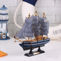 Mediterranean Style Wooden Sailing Ship Handmade Carved Model Boat Home Nautical Decoration Wood Crafts