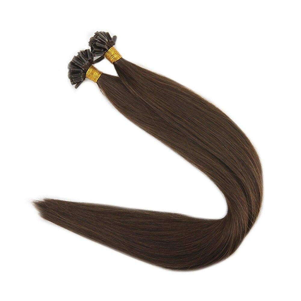 Full Shine Pre Bonded Extensions U Tip Hair Keratin Brown Color #4 1g/Strand 50g 100% Remy Human Hair U Tip Hair Extensions