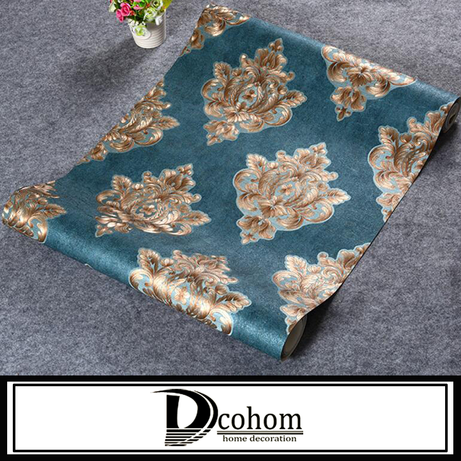Dcohom Vintage Luxury Damask Wallpaper For Living Room Sofa TV Walls Home Decor European Style 3D Vinyl Wall Paper Rolls modern wallpaper for walls black white leaves pattern bedroom living room sofa tv home decor luxury european wall paper rolls
