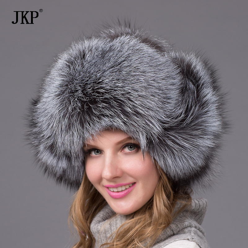 winter fox fur hat with ear flaps for thick and warm