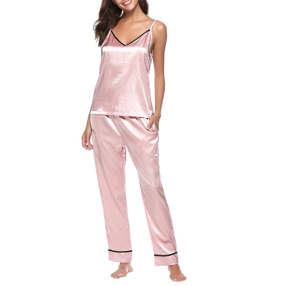 Dark Blue For Women Sleepwear Sleeveless Strap Nightwear Lace Trim Satin Cami Top Pajama Sets #G40
