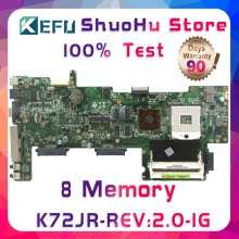 купить KEFU K72JR For ASUS K72JT K72JK K72JU K72J X72J 8Memory 1G RAM laptop motherboard tested 100% work original mainboard дешево