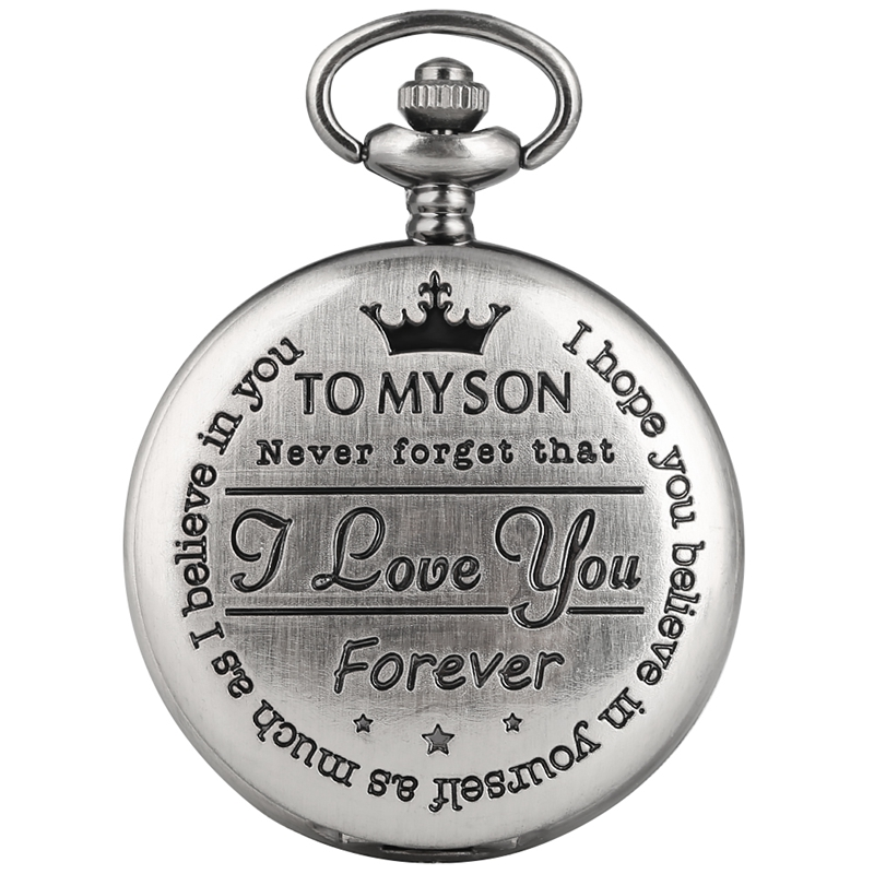 Popular Engraved Words To My Son I LOVE YOU Quartz Pocket Watch Retro Gray Cover Souvenir Birthday Gifts For Son Art Collection