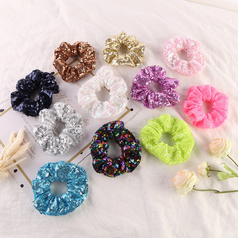 New arrival Fashion women lovely solid sequin Hair bands vintage hair scrunchies girl's hair Tie Accessories Ponytail Holder