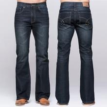 Мужские джинсы традиции загрузки крой Fit Flare джинсы известные бренды глубокий синий мужской джинсы классические стрейч Штаны
