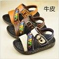 2016 meninos do verão sapatos sapatos de Couro Genuíno crianças sandálias para meninos crianças esporte running shoes sapatos de Praia