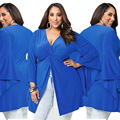 Más el tamaño L-4XL ropa mujeres blusas mujer de manga larga batwing V-cuello sexy Tops 2016 moda azul camisas de marca A156
