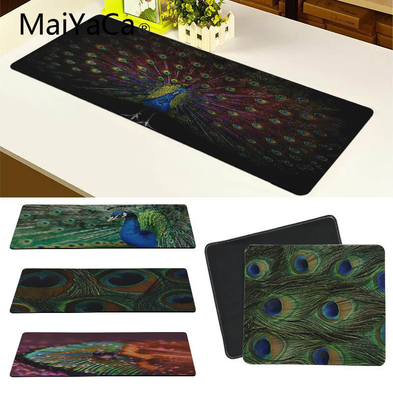 MaiYaCa Hot Sales Peacock feather mouse pad gamer play mats Size for 18x22cm 20x25cm 25x29cm 30x80cm 30x90cm
