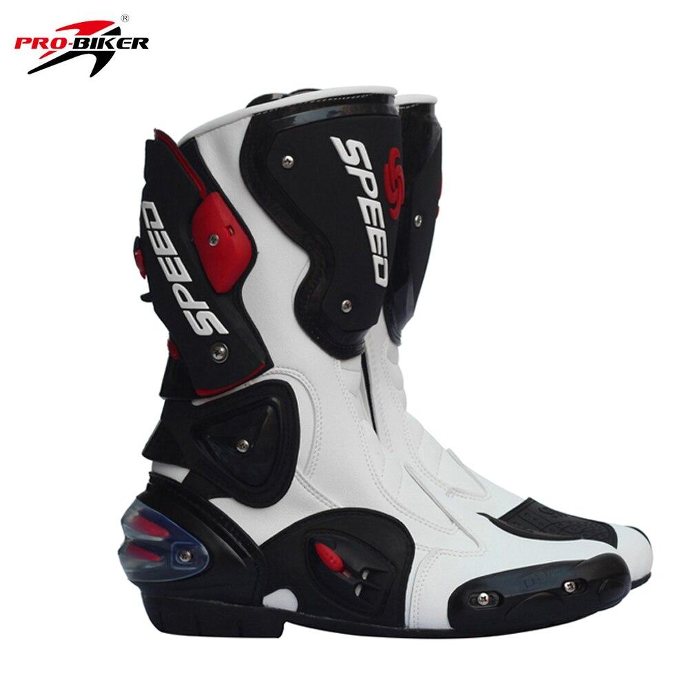Pro Biker Leather Motorcycle Boots Pro Biker SPEED Racing Boots Motocross Boots Drop Resistance Waterproof Riding
