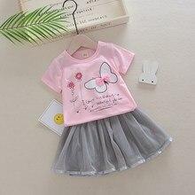9507316d4 2019 Bebê Conjunto Roupa Da Menina de Moda Verão Floral Da Borboleta Manga  Curta T-Shirt + Saia 2 Pcs Da Menina Da Criança roupa.