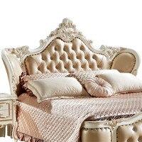 Элитная деревянная кожаная кровать в стиле барокко роскошные наборы для спальни