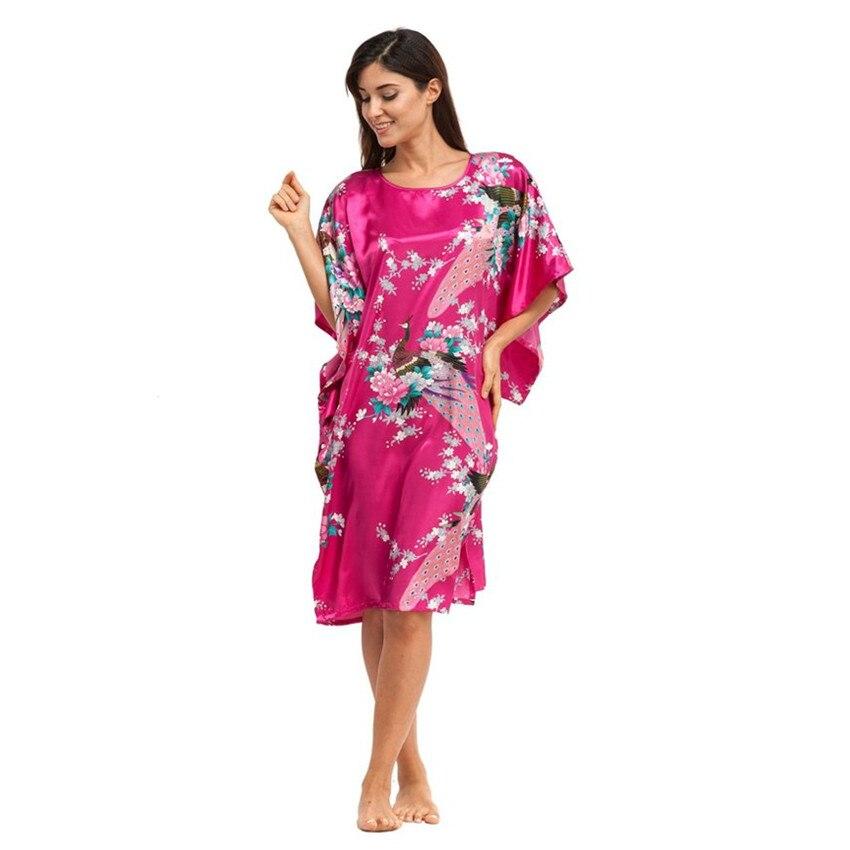Rose chaud Femmes de Robe Robe de Style Chinois Imprimé chemise de Nuit  Yukata Kimono Kaftan Robe de Paon de Nuit une Taille LGK-A10 d04ca31eafe