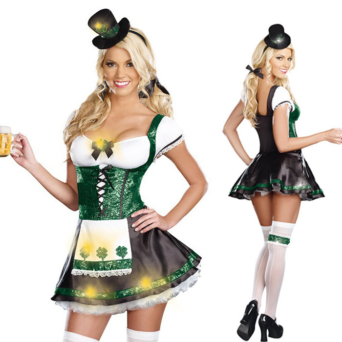 Lady Oktoberfest Costume Green Irish Leprechaun Sexy Women -6020