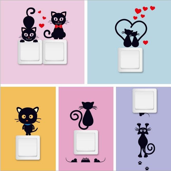 DIY Lucu Lucu Kucing Hitam Beralih Decal Wallpaper Beralih Stiker Dekorasi Kamar Anak anak tidur