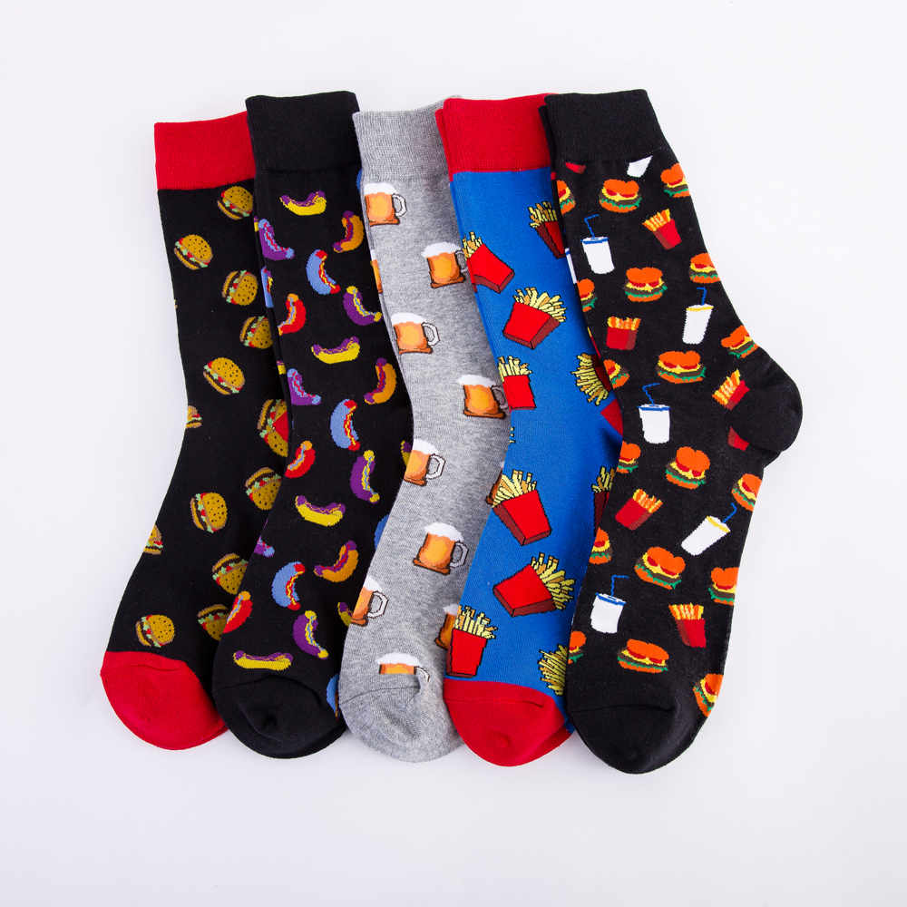 Colorful Hot Dog Hamburg Beer Pattern Novelty Crew   Socks   Men's Funny Food Kawaii Sokken Creative Casual Cotton   Socks   For Male