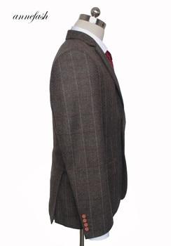 Custom Made Woolen dark brown Herringbone Tweed   5